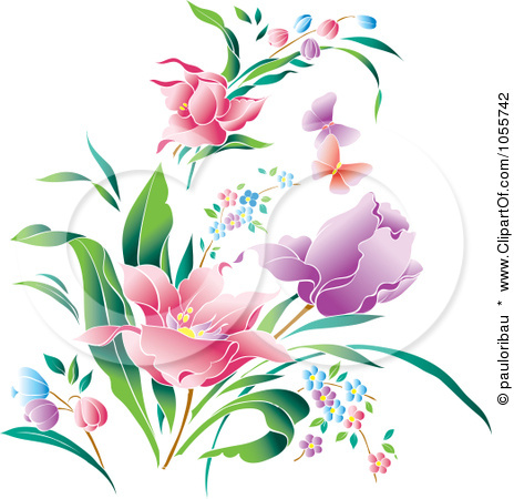 world flowers and butterflies