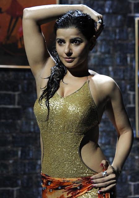 Madhu Sharma in Golden Beach Wear Bikini, Actress in Wet Clothes