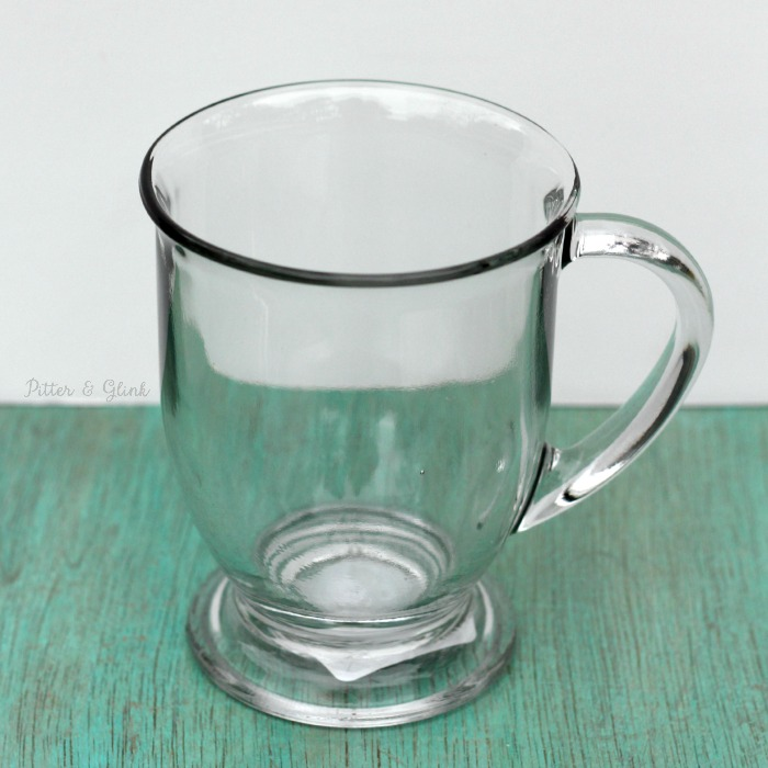 A clear glass mug is perfect for personalizing! pitterandglink.com