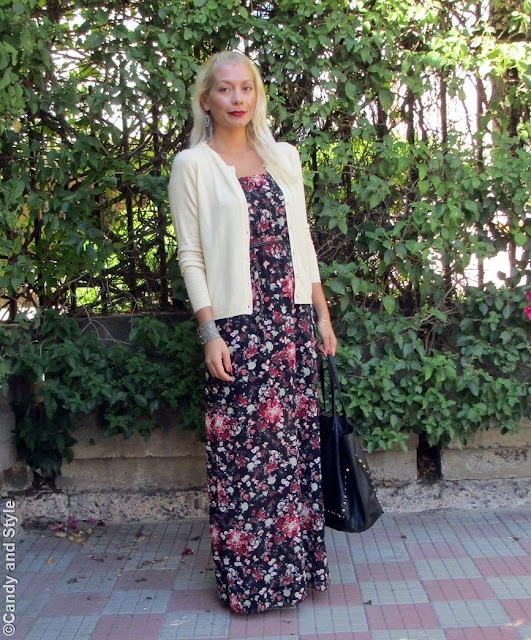 Cardigan+MaxiDress+Wedges+ToteBag+RedLips - Lilli Candy and Style Fashion Blog