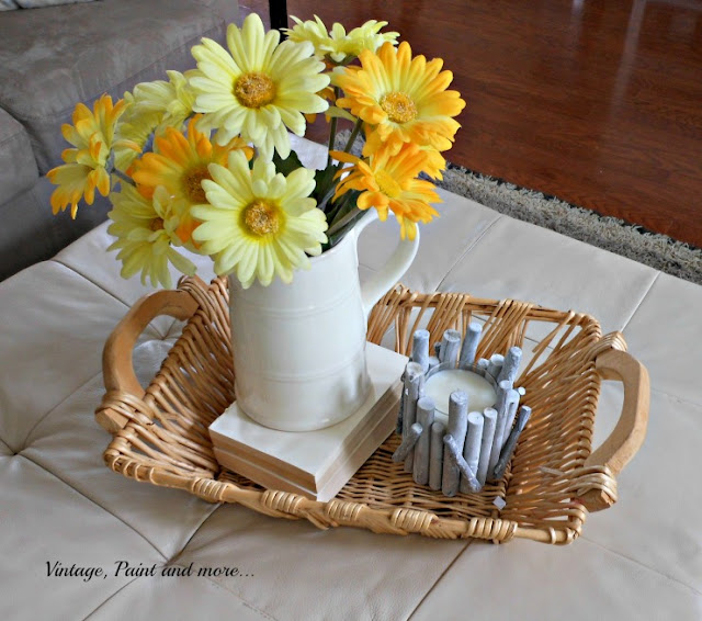 Vintage, Paint and more...  A simple summer vignette with ironstone, daisies and basket tray