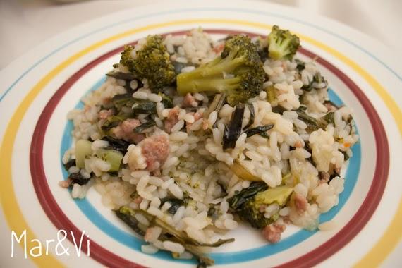 Ricetta di risotto con cicoria, broccoli e salsiccia