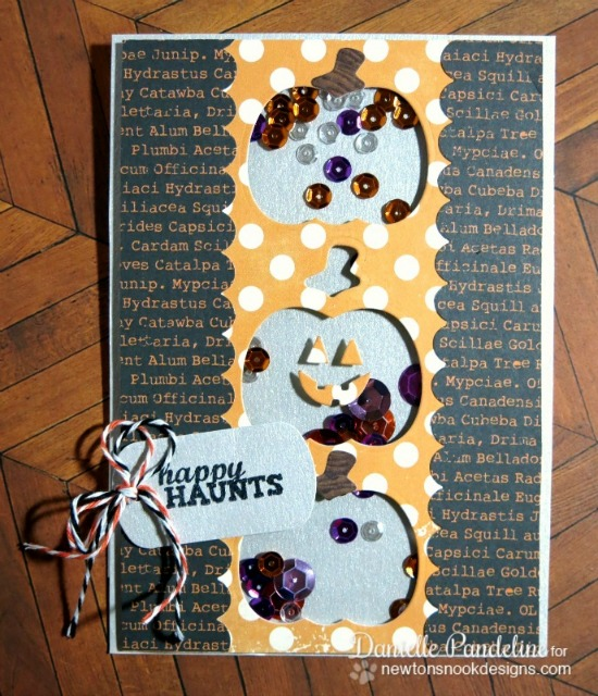 Happy Haunts Shaker Card by Danielle Pandeline | Pick-a-Pumpkin stamp set by Newton's Nook Designs #newtonsnook #pumpkin