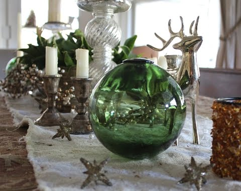 Christmas decorating for table with glass floats