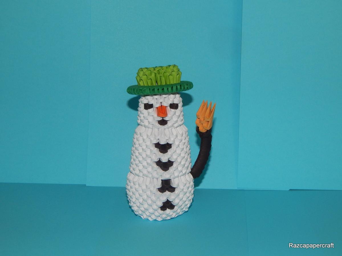 razcapapercraft 3d origami snowman tutorial