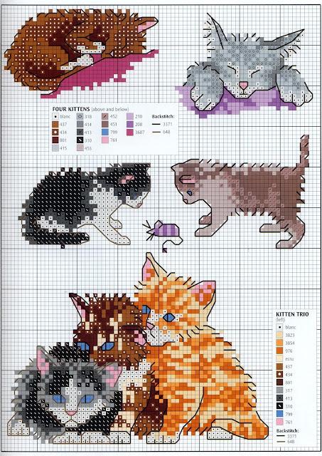 Вышивка крестом схемы маленькие котики