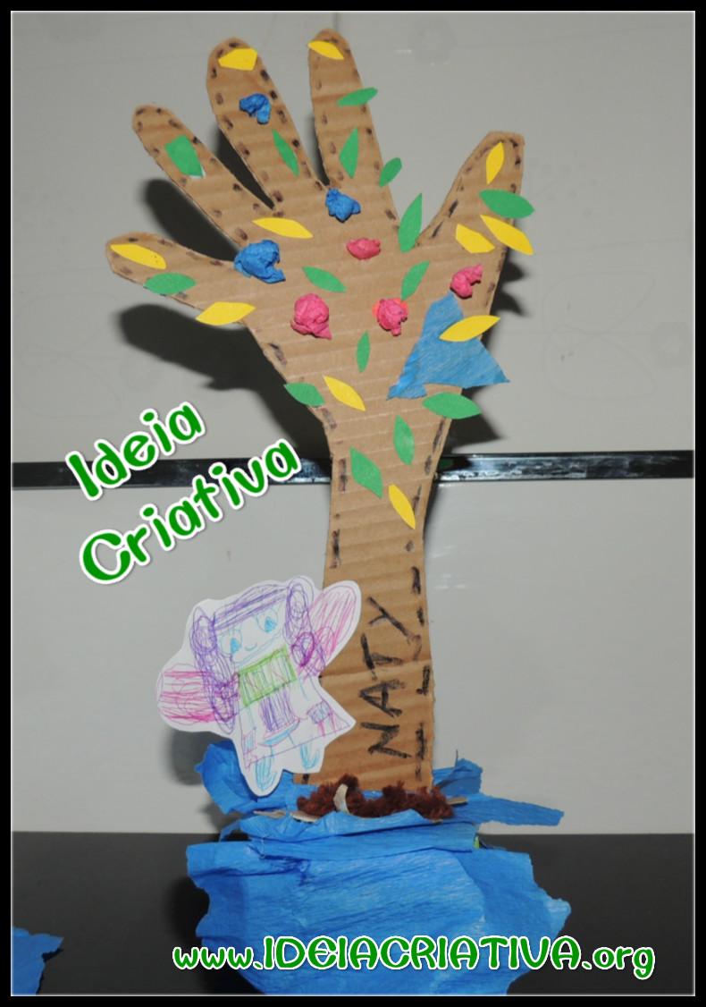 Atividade Reciclagem Árvore de Recorte de Mão e braço