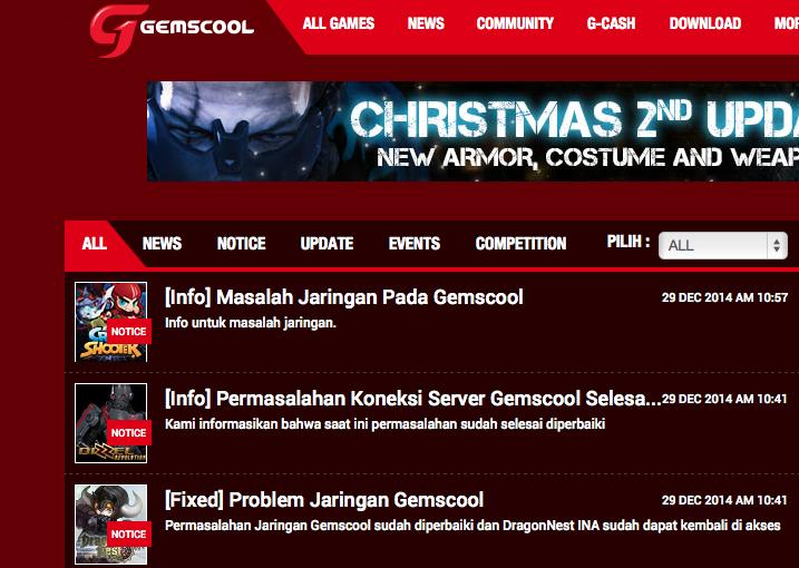 Masalah Server Gemscool Down: Game Online Point Blank, Dragon Nest, Dizzel dan Tales Hero Error