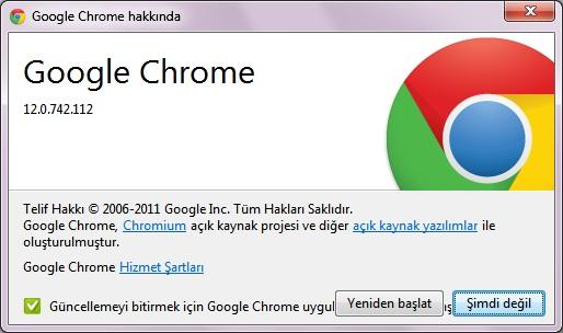 Google chrome 12 güncelleme