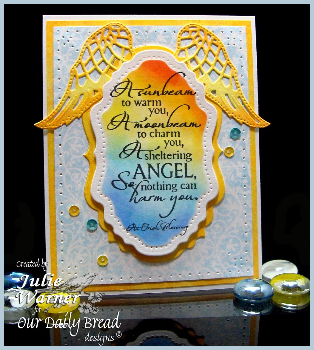Stamps - Our Daily Bread Designs Chalkboard Vine Background, Sheltering Angel, ODBD Custom Angel Wings Die, ODBD Custom Vintage Labels Die, ODBD Custom Vintage Flourish Pattern Die