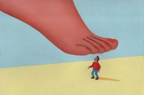 A small man being stepped on by a woman's foot.