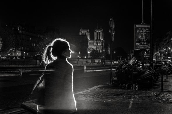 Satoki Nagata black and white photography art portraits city lights night Paris