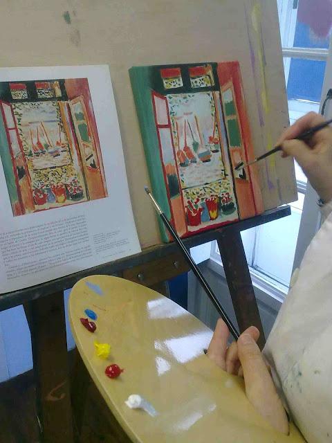 pintando ventana abierta en collioure