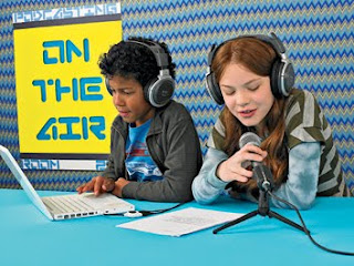 Kids practicing podcasting