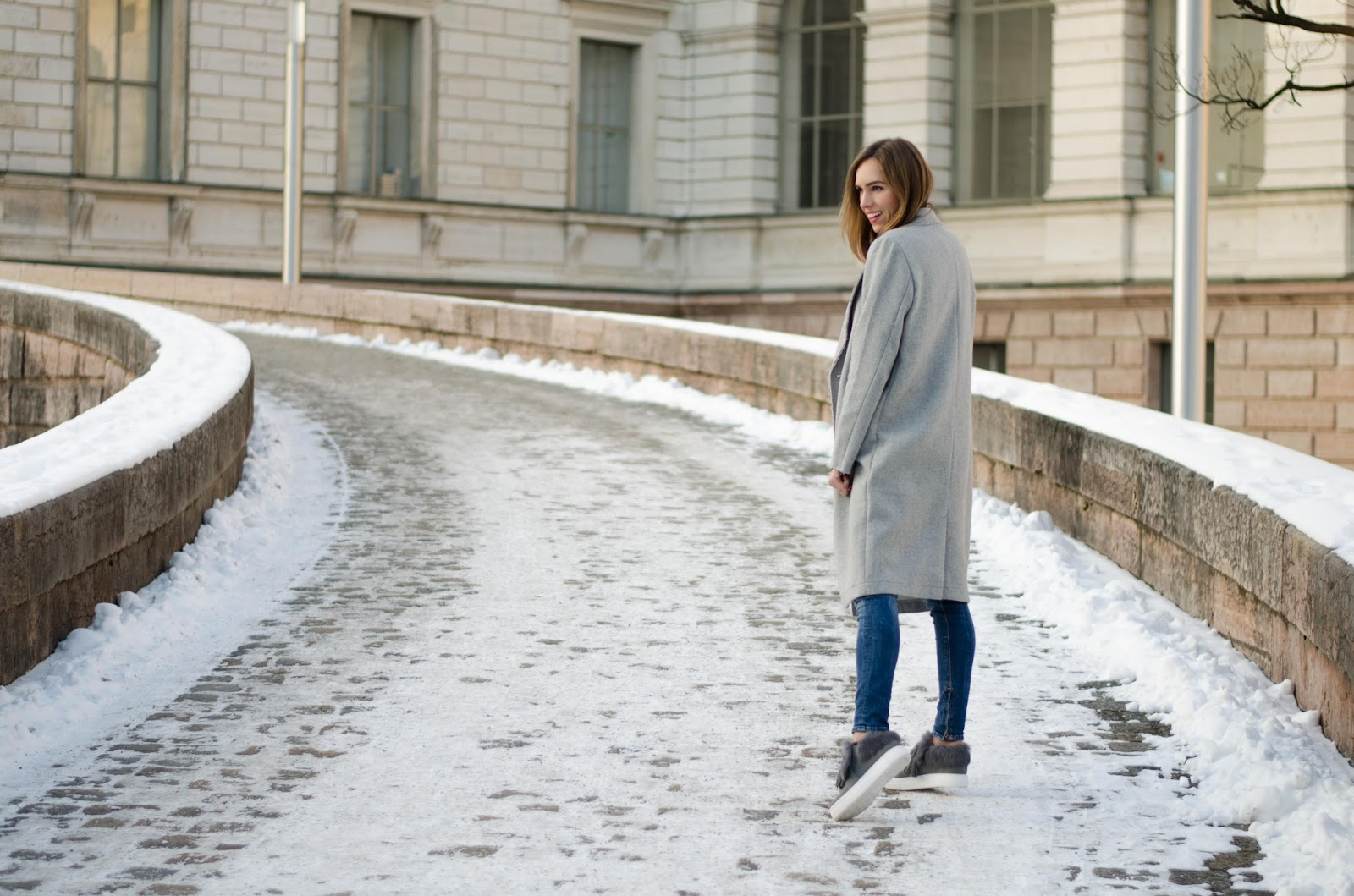 kristjaana mere vila gray wool coat fur sneakers winter outfit