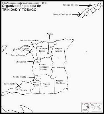 TRINIDAD Y TOBAGO, Mapa de la organizacin poltica de TRINIDAD Y TOBAGO, nombre de las regiones, blanco y negro 