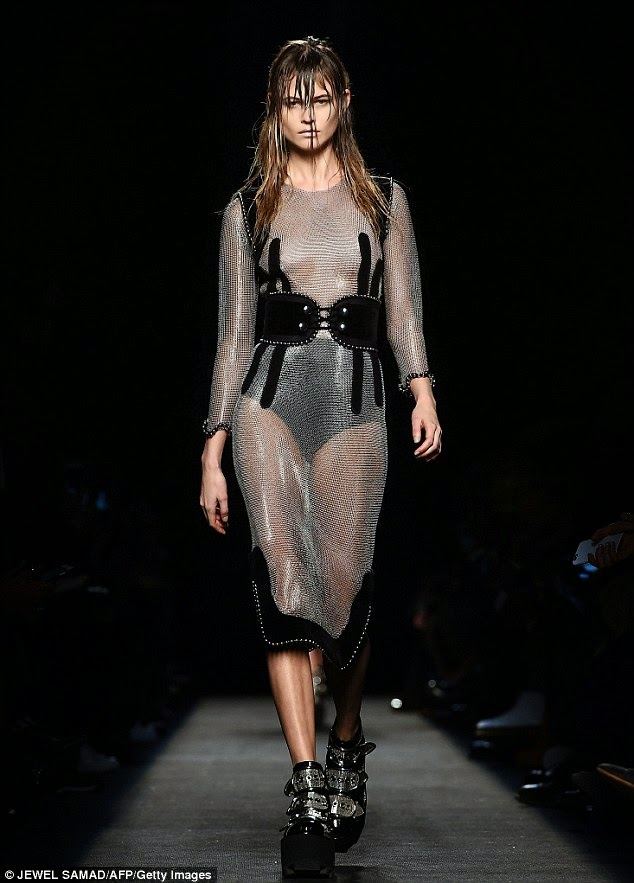 Behati Prinsloo goes braless in a chainmail dress at the Alexander Wang Fall/Winter 2015 New York Fashion Week Show