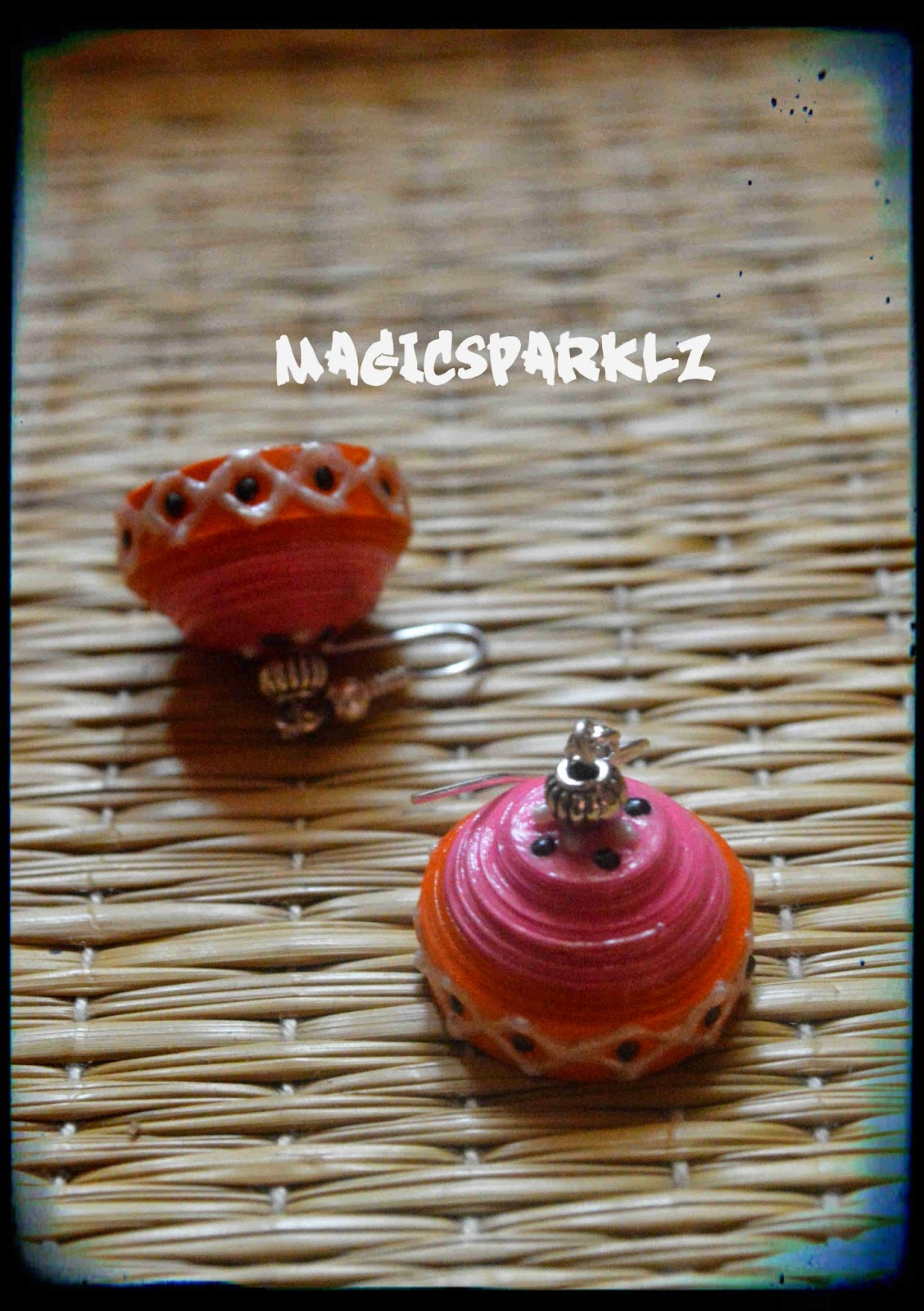 pink orange combo quilled jhumka