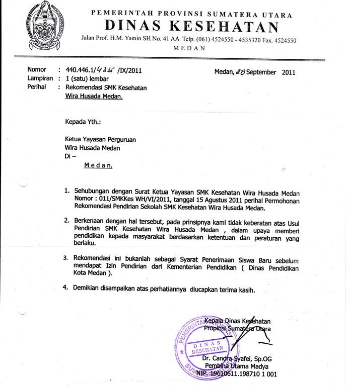Legalitas Sekolah Smk Kesehatan Wirahusada Medan