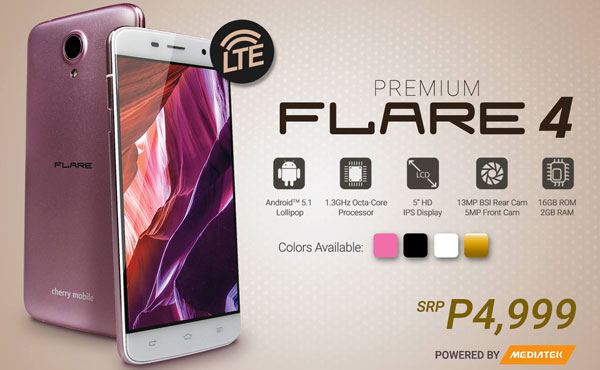 The cherry mobile flare 4 is available n pink the cherry mobile flare