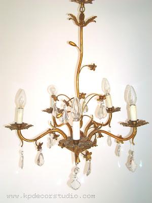 comprar lampara de lagrimas dorada vintage con flores de los años 50