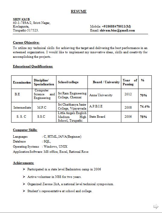 engineering student resumes