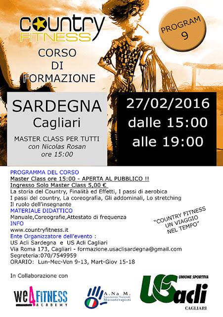 Corso di formazione Country Fitness Sardegna, 27 febbraio 2016 a Cagliari