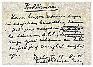 Teks naskah Proklamasi Klaid Kemerdekaan Indonesia