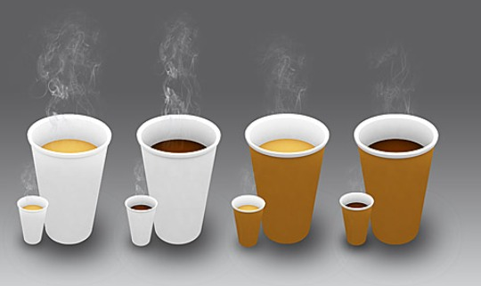 4 Coffee Cup Icons PSD