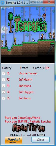 Terraria 1.2.4.1 Trainer +4 MrAntiFun
