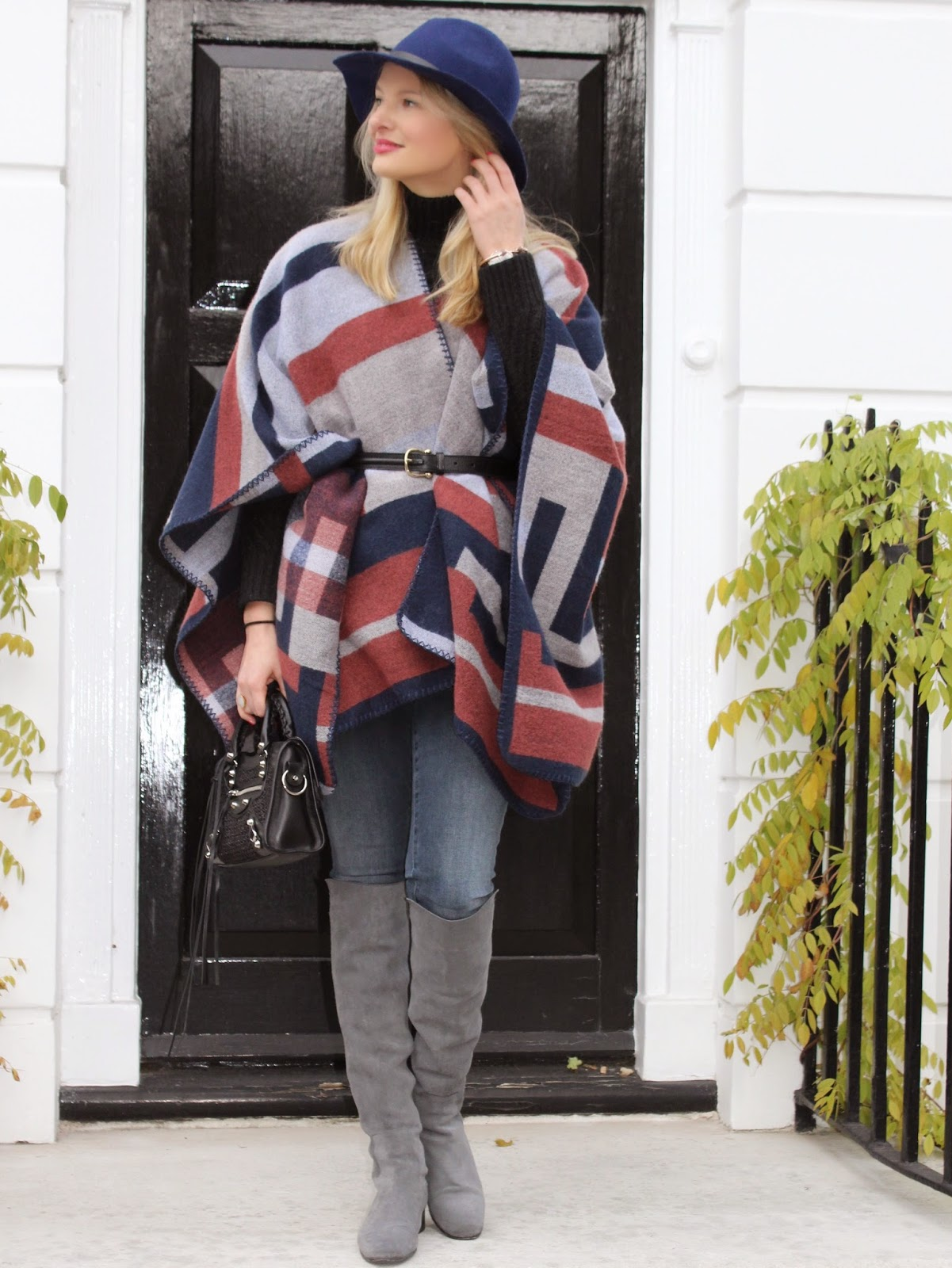 topshop blanket cape, blanket scarf, topshop fedora hat, blue fedora hat, grey overknee boots, balenciaga, balenciaga city mini black, fashion blogger london