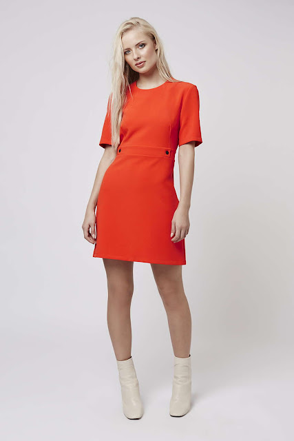 bright red sleeved dress, red short sleeve dress, orange short sleeve dress, topshop red dress,
