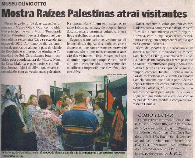Museu apresenta as Rízes Palestinas