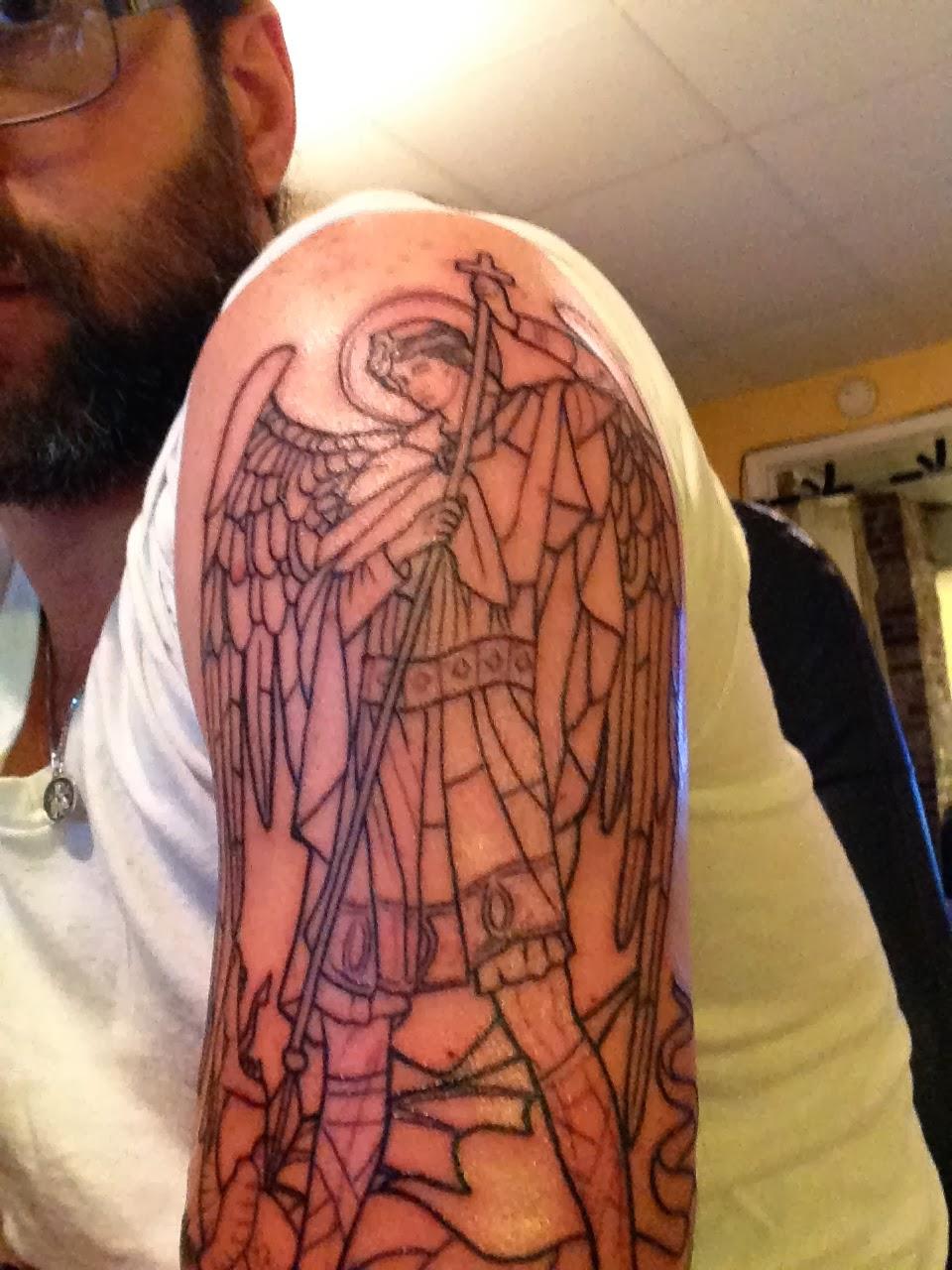 pin archangel michael defeating lucifer tattoo design saint raphael angel on pinterest. Black Bedroom Furniture Sets. Home Design Ideas
