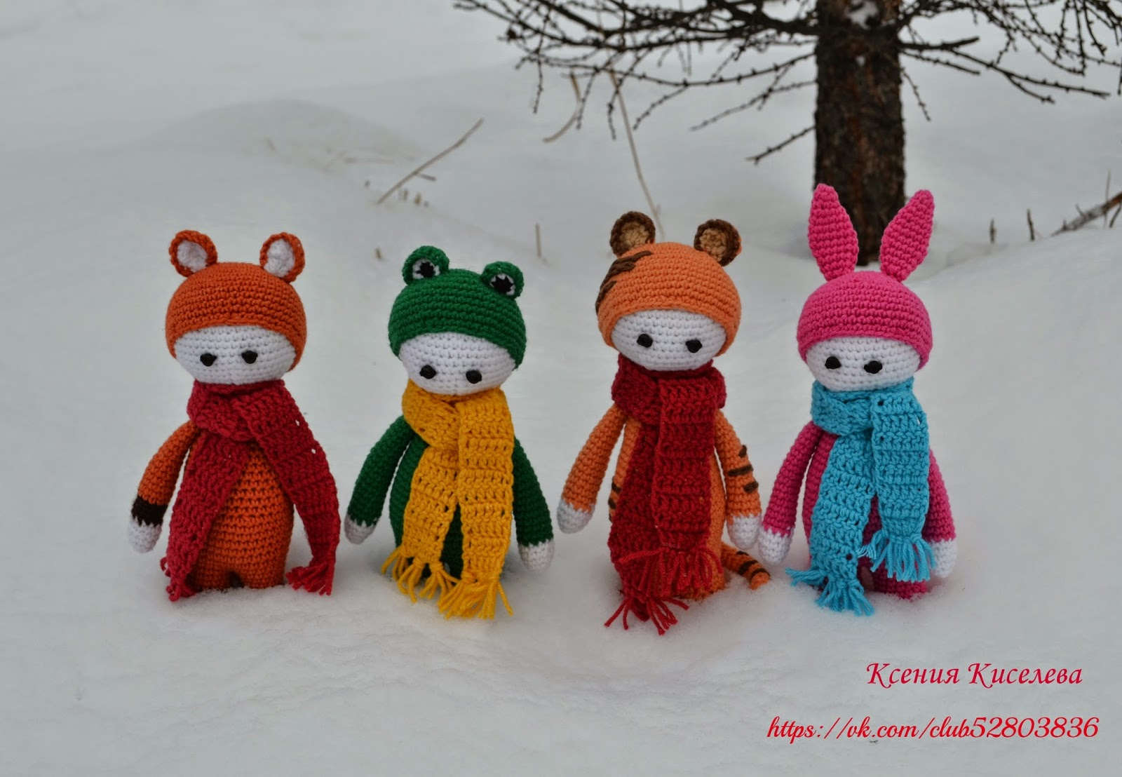 куколки,вязаные игрушки,тигр,лис,лягушонок,зайка