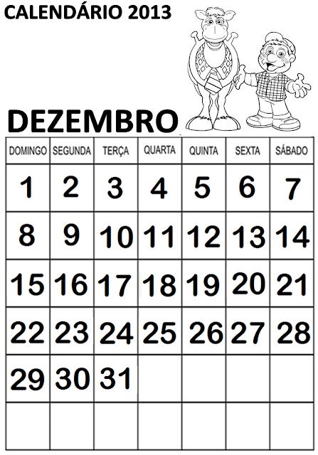 CALENDÁRIOS 2013 PARA CADERNO, TEMA COCORICÓ.