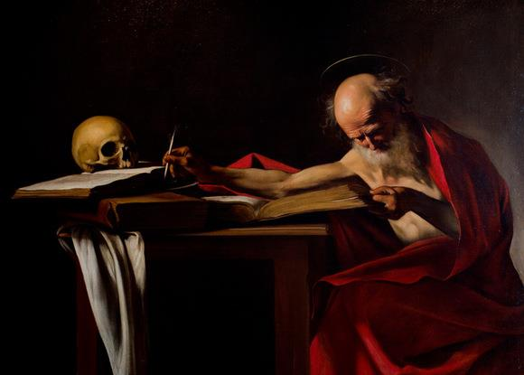 old painting saint writing skull book