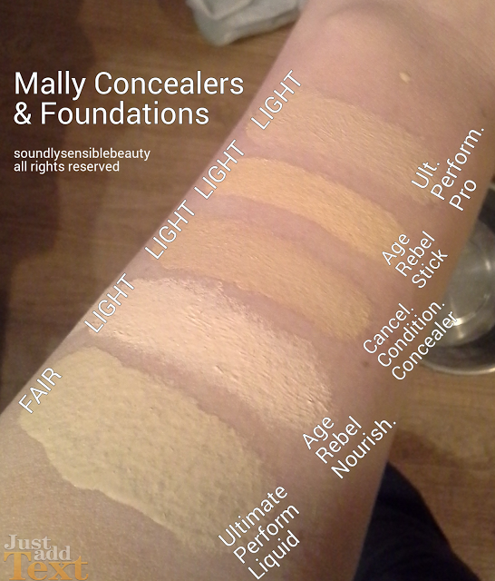 Swatches of Light & Fair Shades in Mally Ultimate Performance Foundation, Age Rebel/Longwear Luxe Concealer, Conditioning Cancellation, Age rebel Concealer