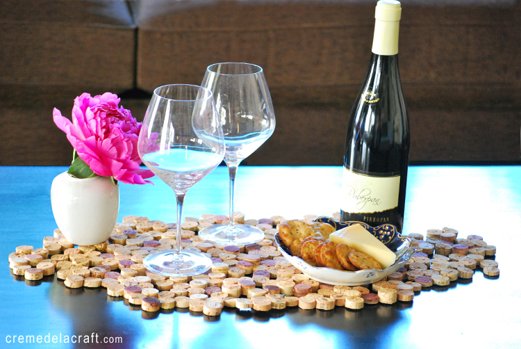 Crafting on a budget diy cork tile placemat from wine corks for Wine cork crafts diy