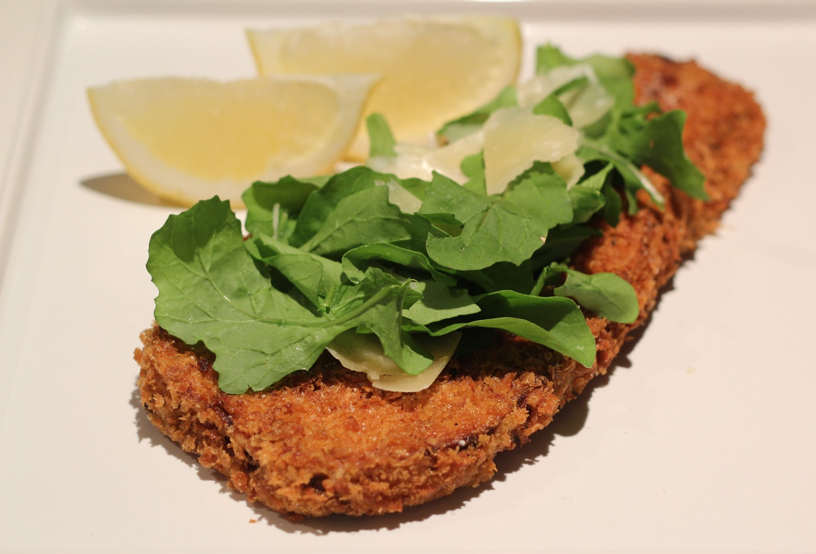 Lexi's Kitchen: BREADED EGGPLANT WITH ARUGULA AND PARMESAN