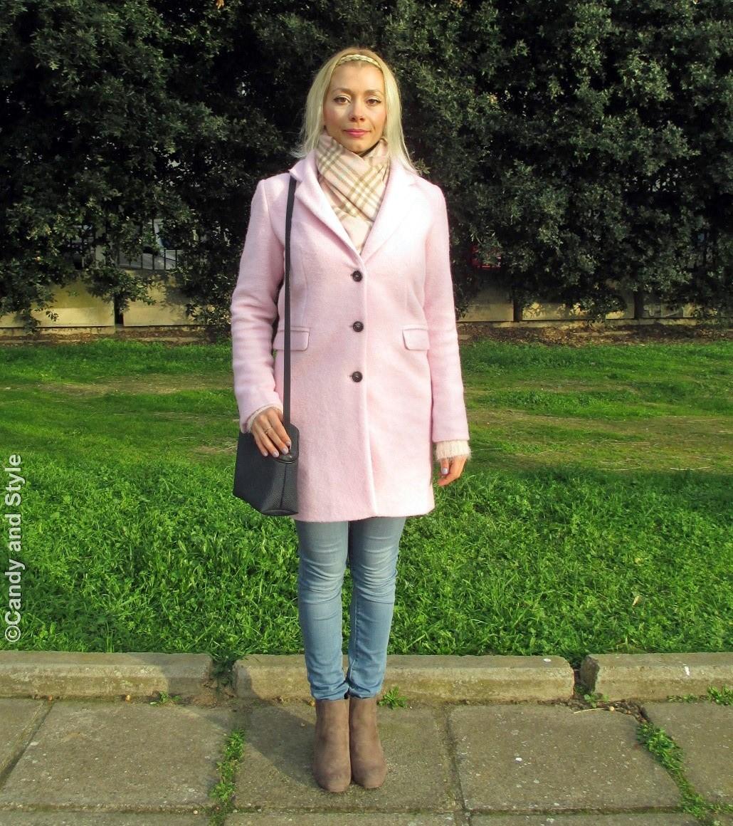 Pastels - PinkCoat+PlaidScarf+Jeans