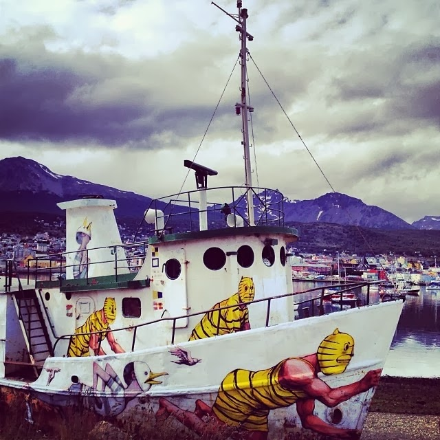 Street Art Duo Seth and JAZ paint a new boat in the land of fire aka Ushuaia, Argentina. 2