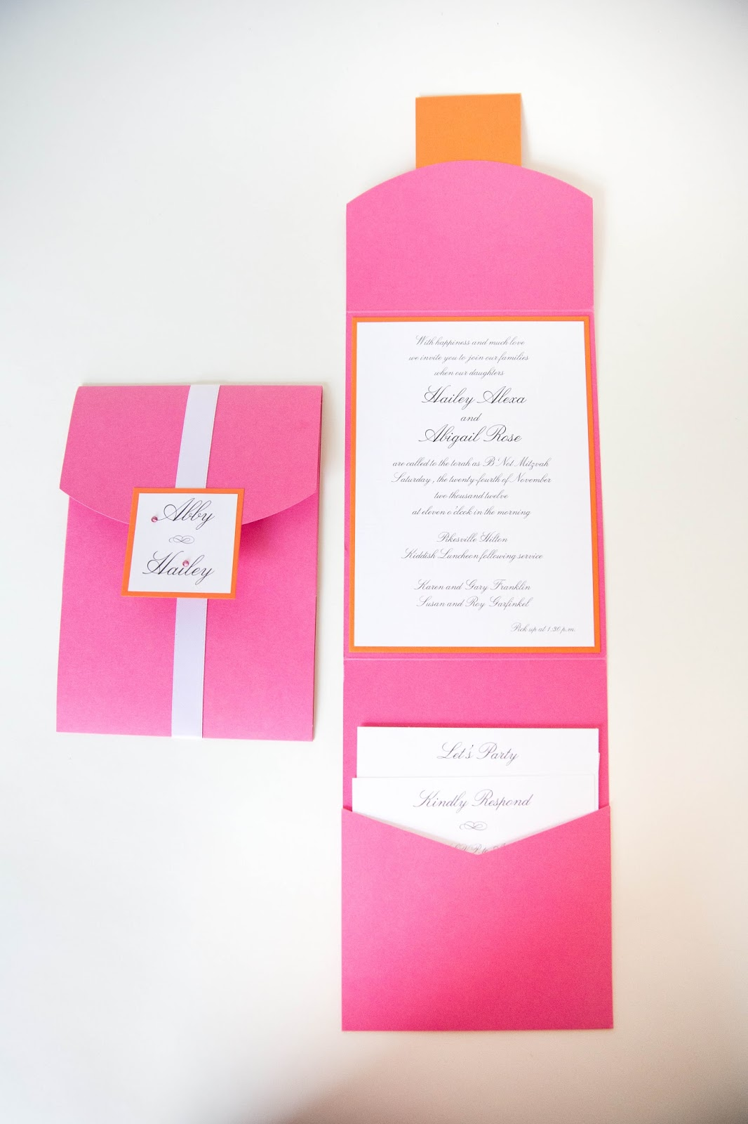 Bat Mitzvah Invitations • Pink and Orange - Kindly RSVP Designs