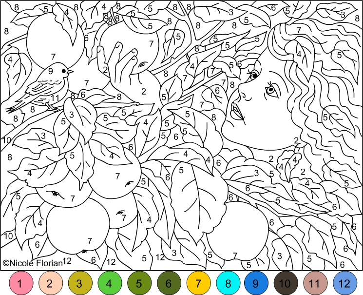 COLOR BY NUMBER * GOLD APPLES GARDEN * COLORING PAGE