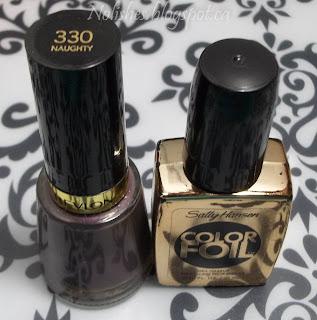 Revlon 'Naughty', and Sally Hansen Color Foil 'Liquid Gold'