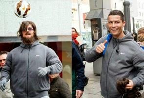 Gambar Bintang Real Madrid Cristiano Ronaldo yang sanggup jadi pengemis kerana peminat