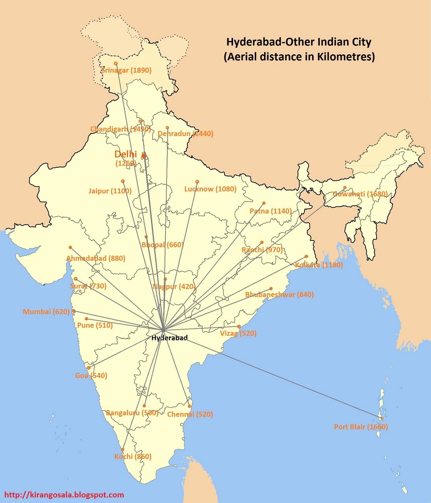 indian cities distance ex hyderabad
