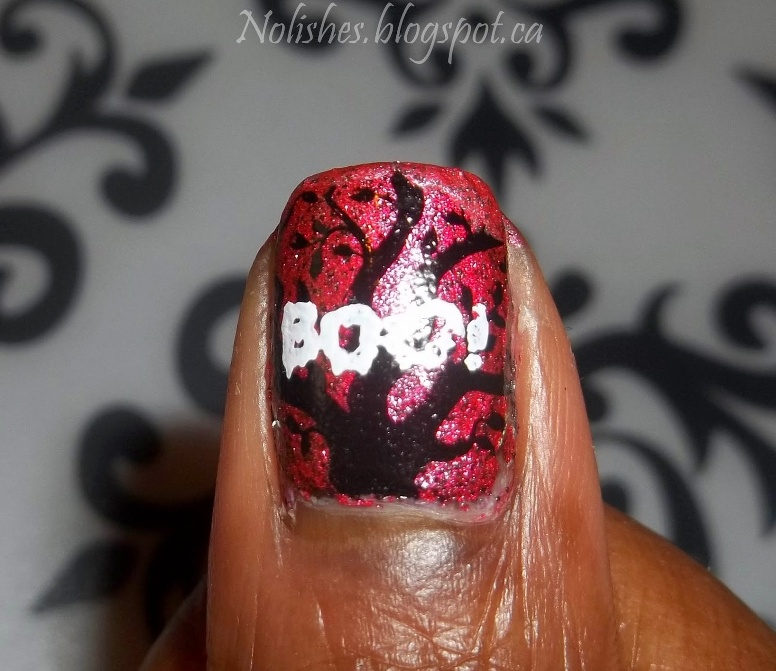 Halloween Themed Nail Stamping Test Mani, using Bunny Nails Stamping Plates BuNa-A, and HD-C. Polishes Used: China Glaze 'I Love Your Guts', and Konad special polish in 'black' and 'white'.
