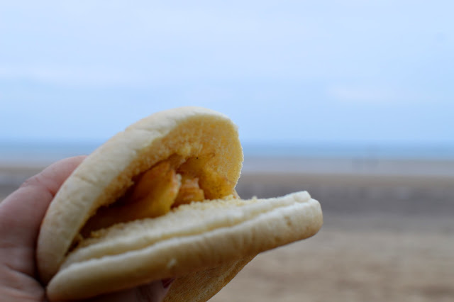 Chip butty on beach