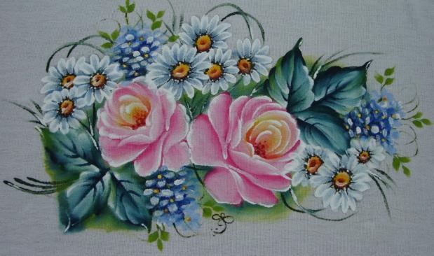 pano de prato rosa pintada a mão
